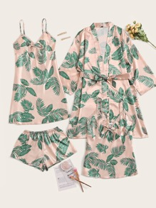4pcs Tropical Print Satin Pajama Set With Robe