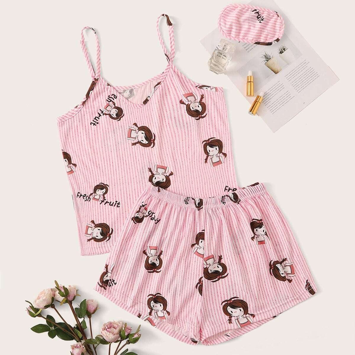 Cartoon Graphic Cami PJ Set With Eye Cover, SHEIN  - buy with discount