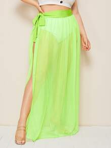 Plus Tie Side Split Sheer Skirt