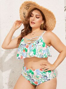 Plus Floral Floaty Top With High Waist Bikini