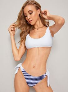 Solid Top With Striped Tie Side Bikini