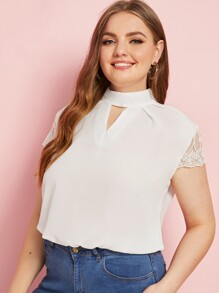 Plus Contrast Lace Cuff Zip Back Choker Neck Blouse