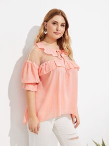 Plus Contrast Mesh Ruffle Trim Tie Neck Blouse