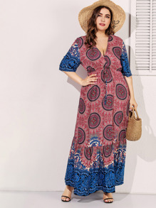 Plus Tribal Print Drawstring Waist Ruffle Hem Dress