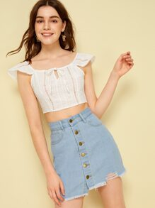 Solid Knot Ruffle Sleeve Crop Top