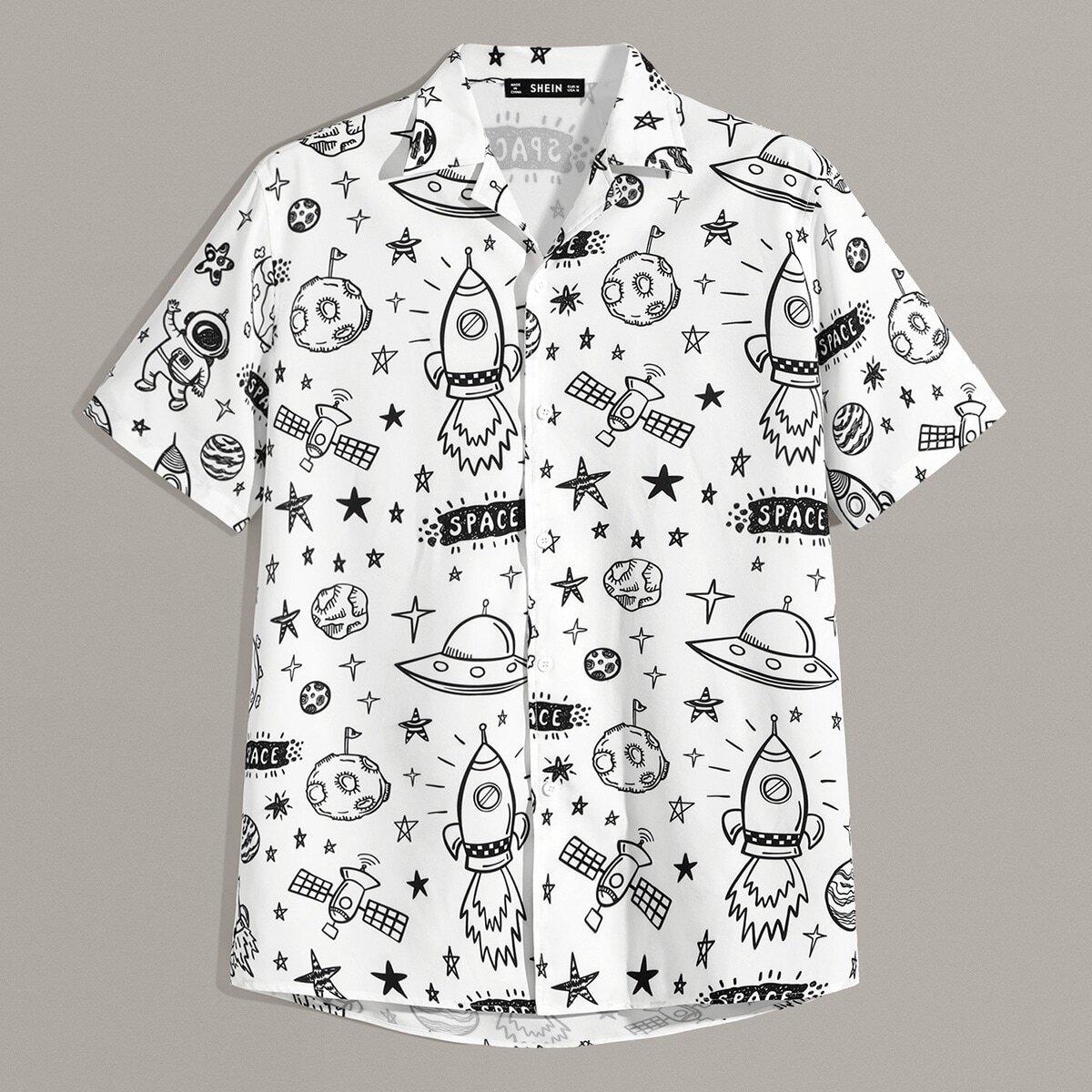 Мужская рубашка со смешанным принтом SheIn smshirt07190605819