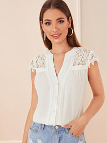 Contrast Lace Button Front Blouse
