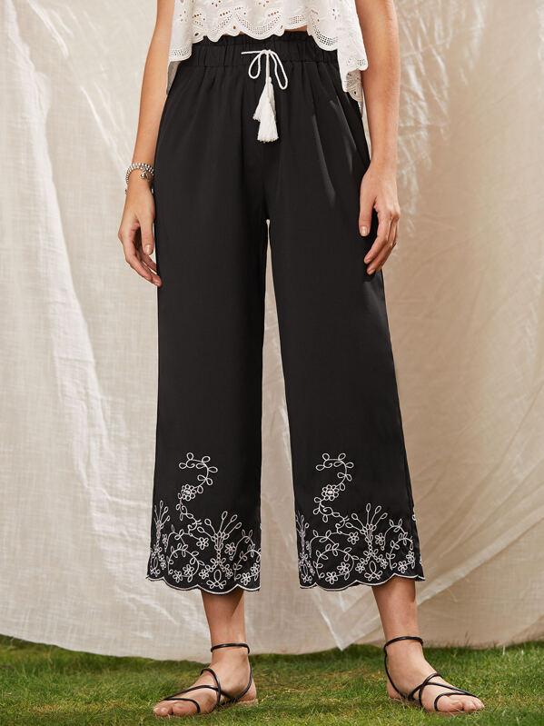 33b807291b Tassel Tie Embroidered Wide Leg Trousers