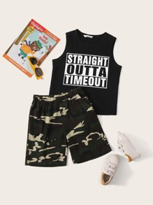 Boys Slogan Print Tank Top & Camo Shorts Set