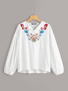 Lantern Sleeve Embroidery Print Top