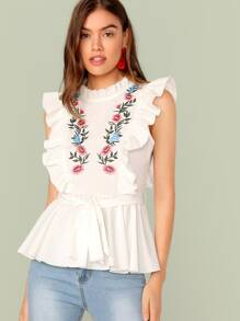 Embroidered Floral Ruffle Trim Self Belted Peplum Top