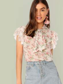 Floral Print Tie Neck Ruffle Armhole Top