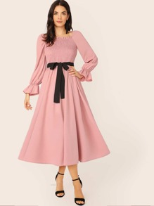 Frill Trim Shirred Front Belted Dress