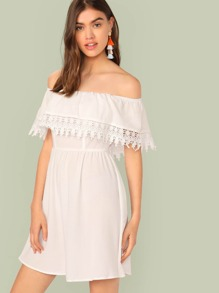 Guipure Lace Trim Foldover Dress