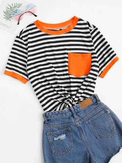 Plus Striped Pocket Patch Ringer Tee