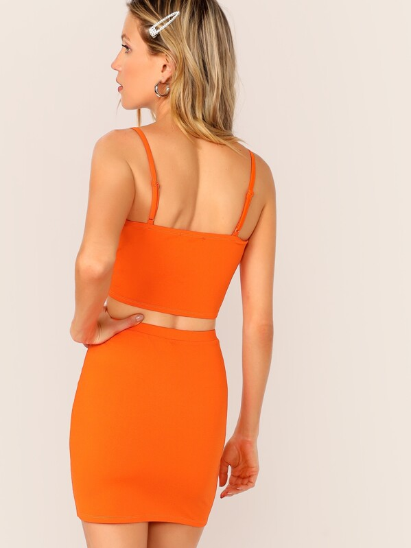 bbfd41dffa Neon Orange Crop Cami Top & Pencil Skirt Set | SHEIN