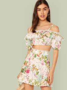 Cold Shoulder Lace Trim Floral Top & Skirt Set