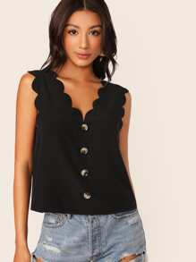 Button Front Scallop Trim Tank Top