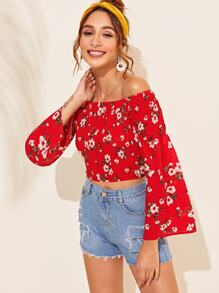 Off Shoulder Floral Print Shirred Blouse