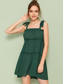 Lettuce Frill Knot Plaid Cami Dress