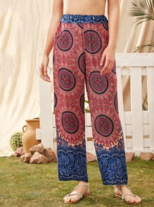 Tribal Print Elastic Waist Pants