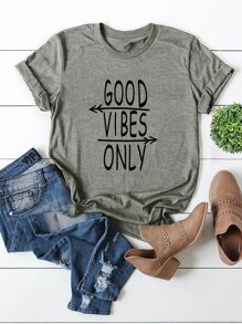 Slogan and Arrow Print Tee