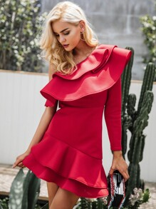 Simplee One Shoulder Layered Ruffle Dress