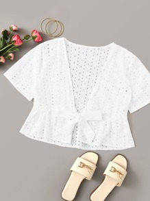Eyelet Embroidery Tie Front Top