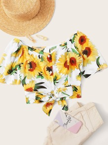 Sunflower Print Shirred Tie Front Crop Top