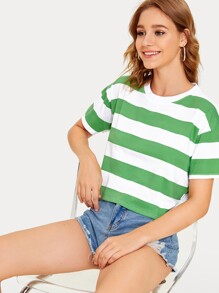 Striped Drop Shoulder Tee