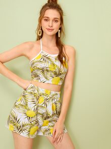 Tropical Print Tie Back Halter Top & Shorts
