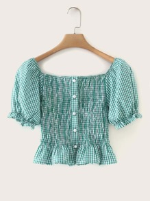 Gingham Button Front Ruffle Hem Shirred Blouse
