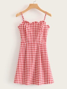 Gingham Frill Trim Shirred Cami Dress