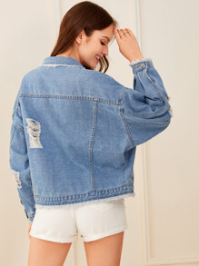 Solid Ripped Button Front Denim Jacket