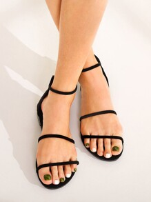 Back Zipper Ankle Strap Flat Sandals