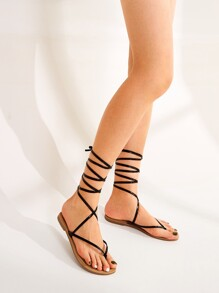 Toe Post Tie Leg Sandals