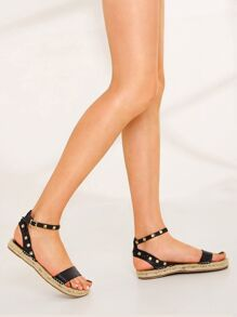 Studded Decor Ankle Strap Sandals