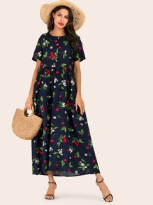 Allover Floral Button Front Dress