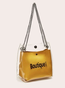 Letter Print Clear Chain Bag