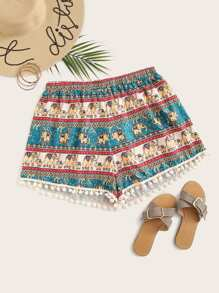 Plus Pom Pom Tribal Print Shorts