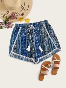 Plus Pom Pom Drawstring Waist Tribal Print Shorts