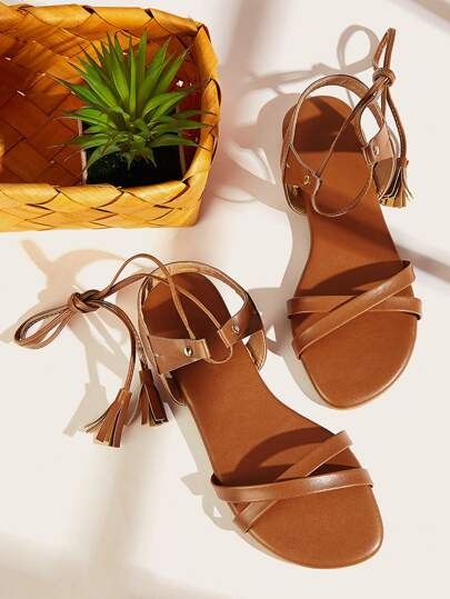 Tie Leg Tassel Decor Sandals
