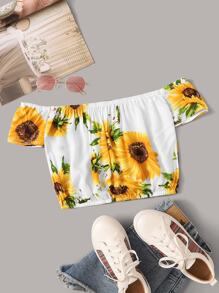 Sunflower Print Off The Shoulder Top