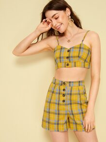 Tartan Print Button Front Shirred Cami Top With Shorts