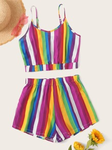 Rainbow Striped Tie Back Cami Top With Shorts