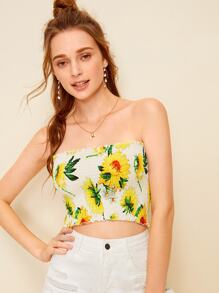 Sunflower Print Shirred Frill Trim Bandeau