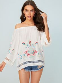 Floral Embroidery Off Shoulder Blouse