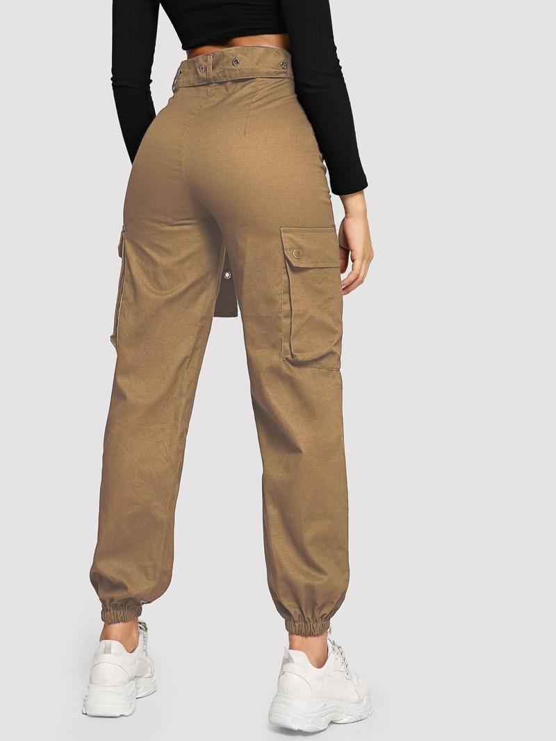 d8f6e04a1d Flap Pocket Grommet Belted Cargo Pants