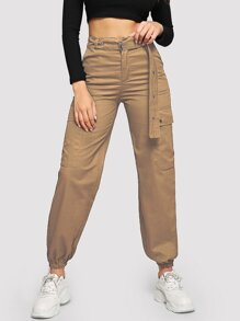 Flap Pocket Grommet Belted Cargo Pants