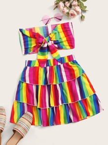 Rainbow Striped Tie Front Tube Top & Layered Skirt